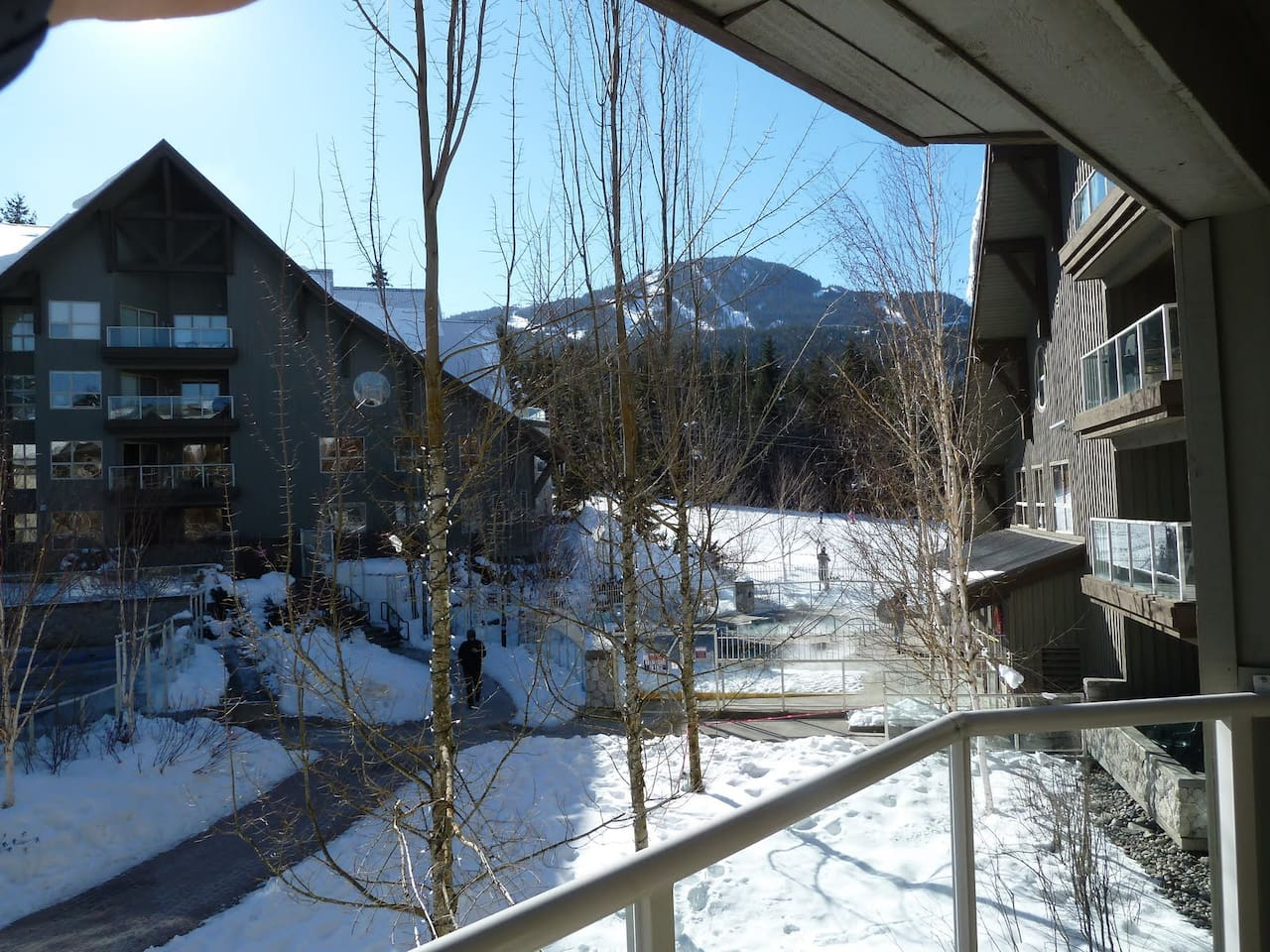 View of Blackcomb Mtn from balcony - you are next to the slopes!  Wizard ski lift is seconds away ;)