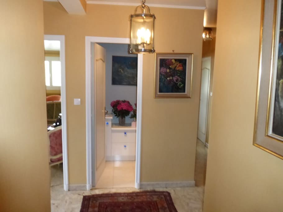 Entrance : toilets in front. Right side to Rooms and bathroom. Left side to Kitchen and the living room