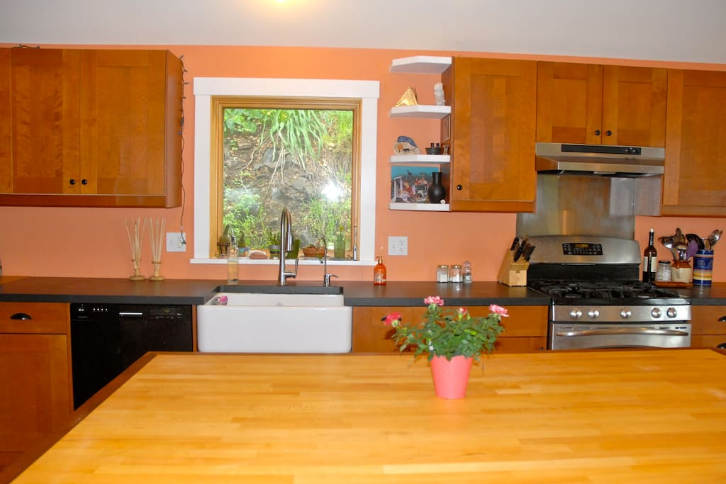 Expansive counter-tops and country sink.