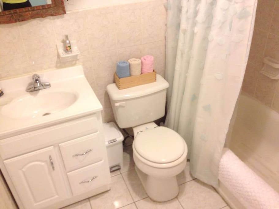 Clean bathroom w/ blowdryer, Straightening Iron and hotel quality towels