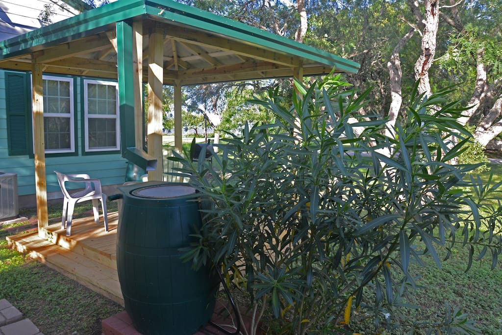 Turtle Cabin's new gazebo offers a view of Copano Bay to the east.