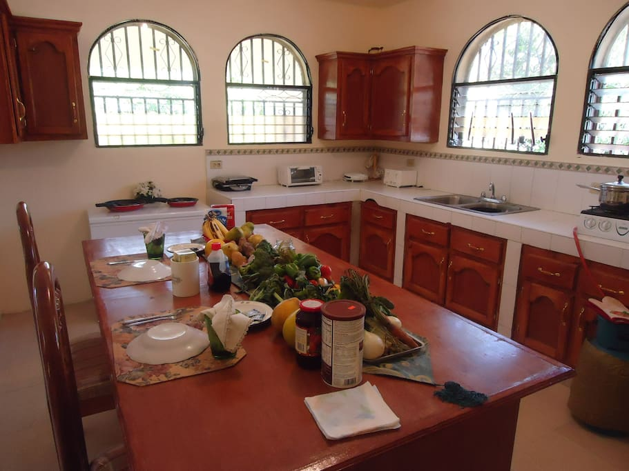 Sunny and spacious kitchen with great cabinet space and counter space. All cooking gear included!