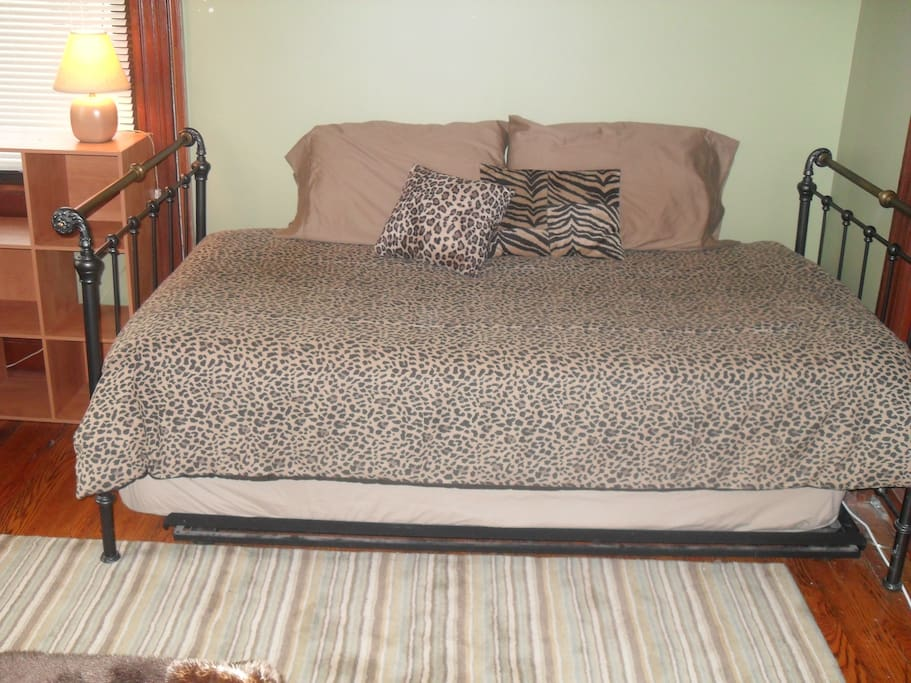Trundle Bed in large bedroom: bottom pulls out.