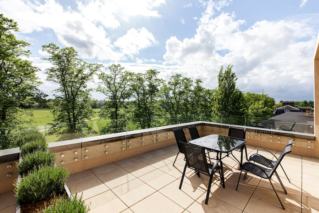 Expansive roof terrace overlooking Parker's Piece; Cambridge's Premier Park. Accessed directly from the living area