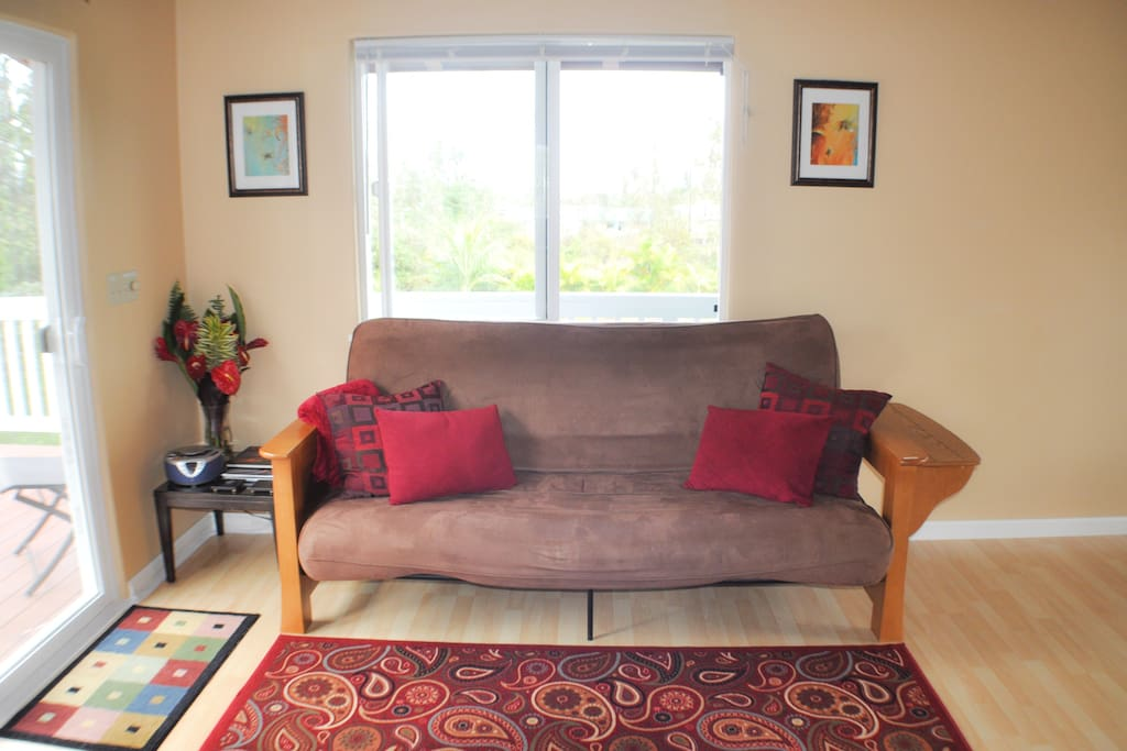 The futon, where you can also use one's own laptop, with wireless internet provided.