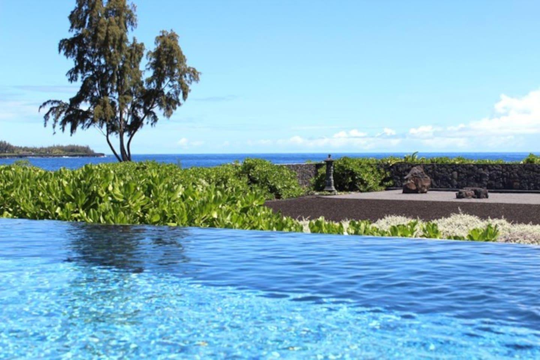 Pool overlooks Zen Garden and ocean