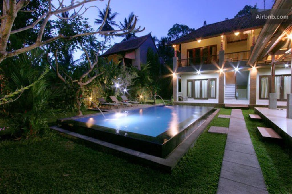 Exterior villa with the light