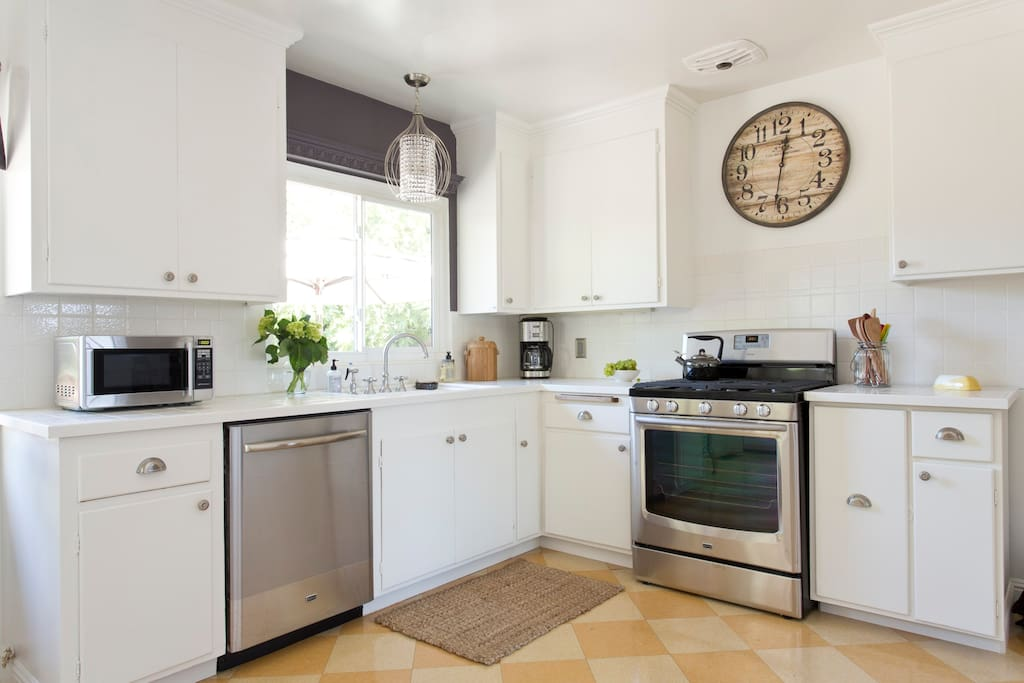 Kitchen with all stainless steel appliances