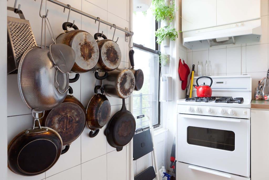 Kitchen, featuring pot rack and organic Windowfarm