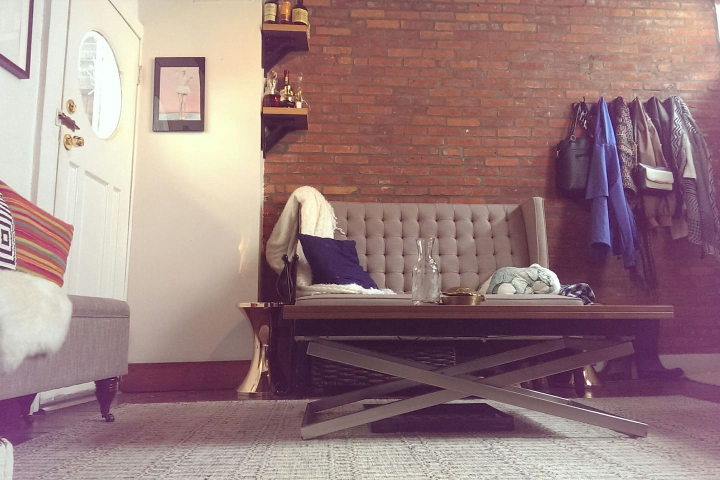 Bench, back door, height-adjustable table, and couch.