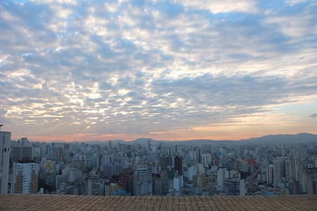Great studio, 36m2, incredible view from Sao Paulo, all equipped. 100MB internet connection.