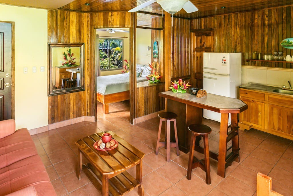 Living area of the Hideaway, There is a full kitchen, stove, everything you need to prepare your own meals