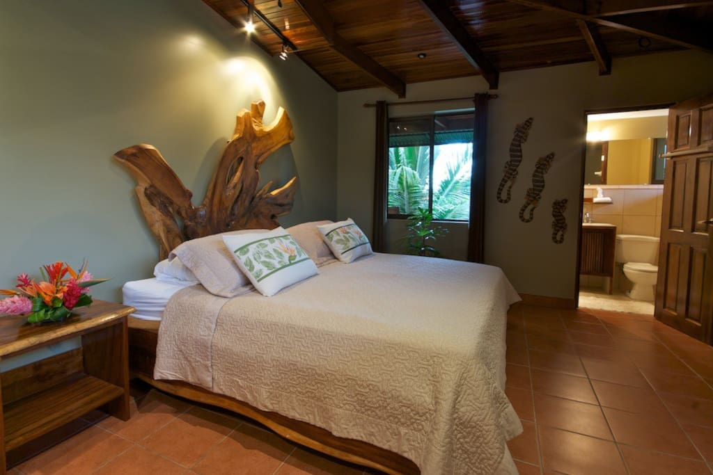 Bedroom #1 King size teak bed with insuite bathroom, located in the Penthouse
