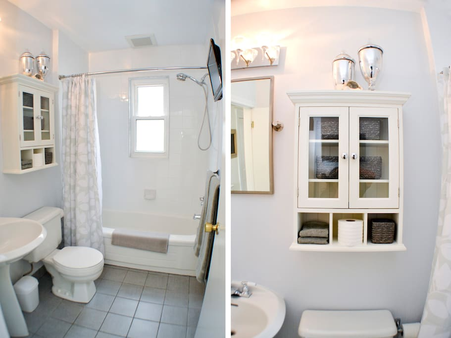 Bathroom great storage and natural light