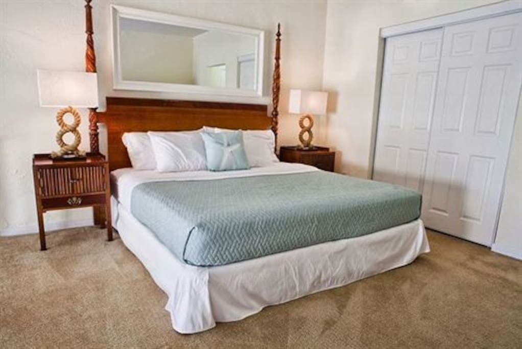 bedrooms are upstairs(loft area), comes with a king size bed