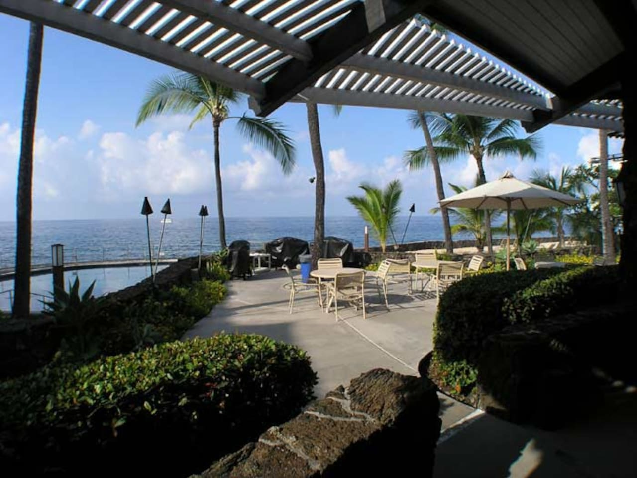 Barbeques and oceanfront dining area