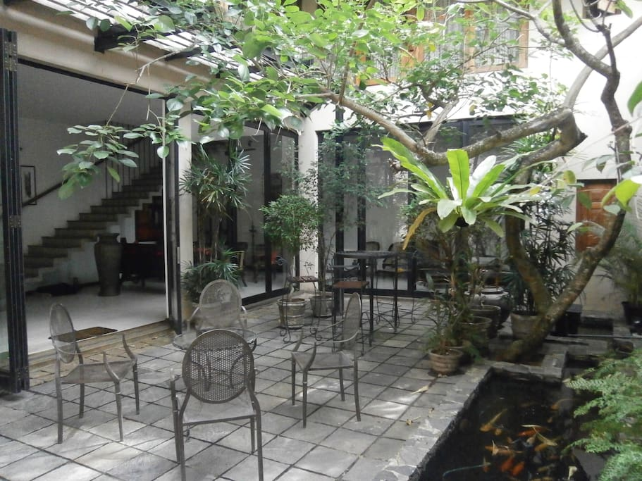 Unique Courtyard with the Fish Pond...!