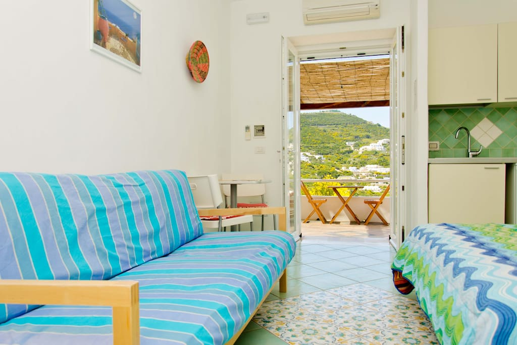 La Forcina is a 'monolocale', self-contained room with kitchenette and en-suite bathroom.