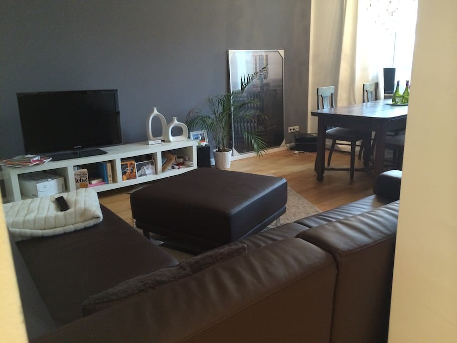 Living room with TV, sofa, dining table. Living room and kitchen are one beautiful open room