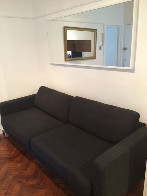 The sofa bed in the lounge - it folds out into a double bed.