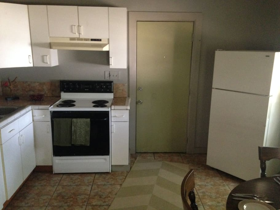 Kitchen includes a microwave too.