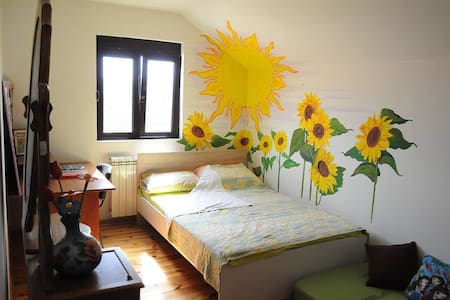Sunflower bedroom + free bikes - House