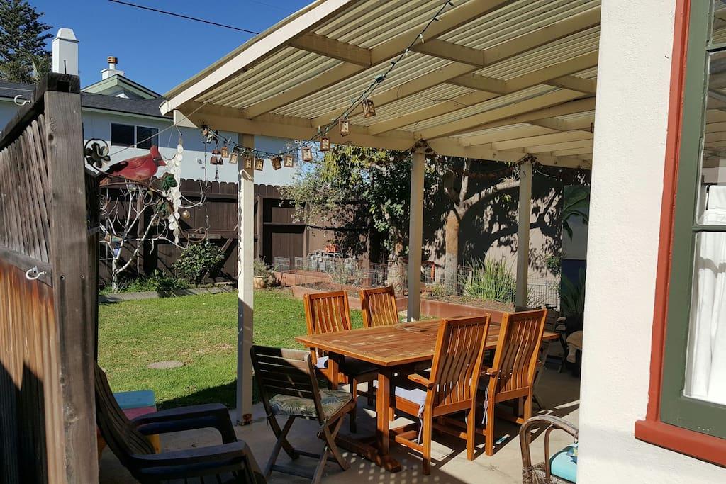 Spacious semi-private backyard