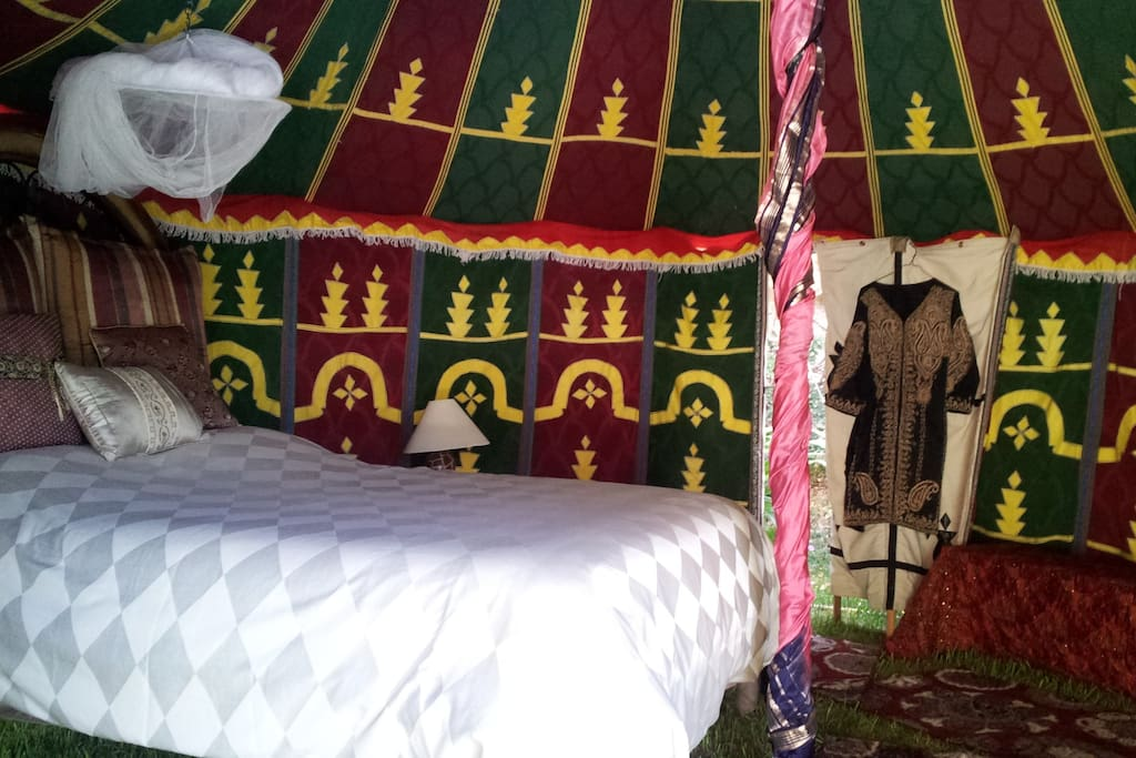 Interior of tent w queen size bed