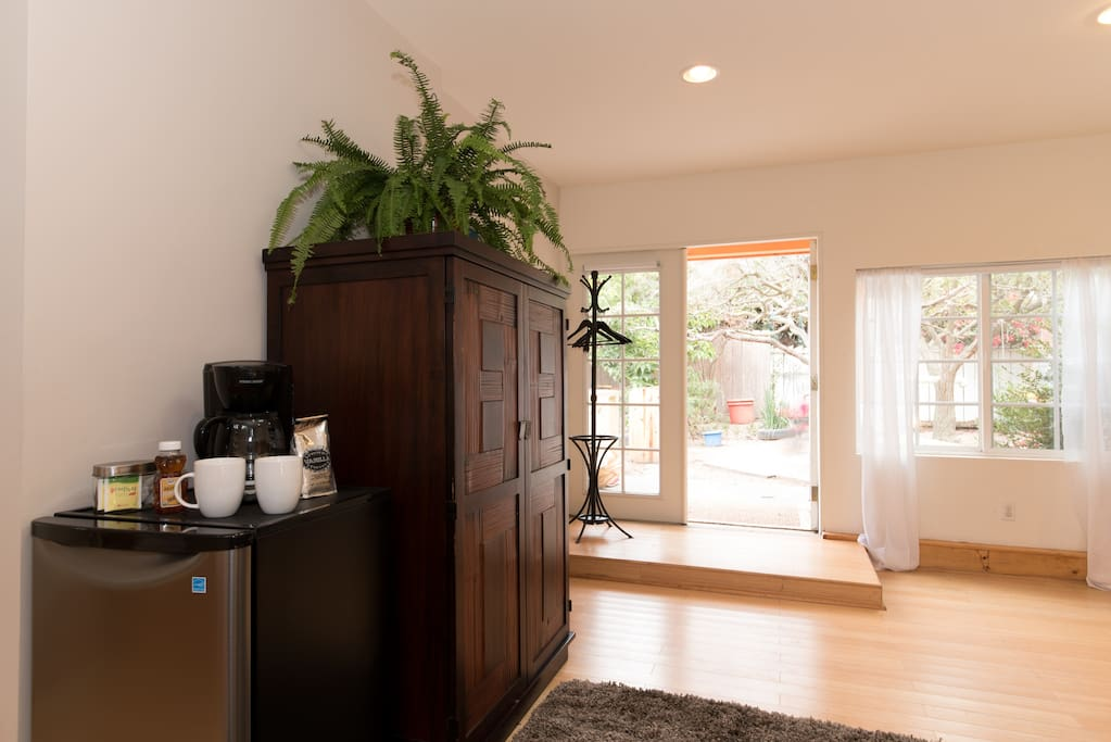 Clean and bright, and equipped for fresh coffee and simple meals