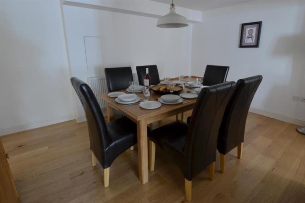 The spacious dining room