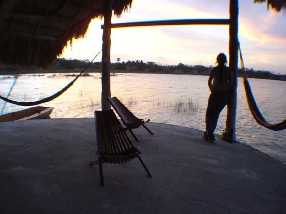 View from dinning area under the Palapa. Relax in the hammock. Watch the sunset.