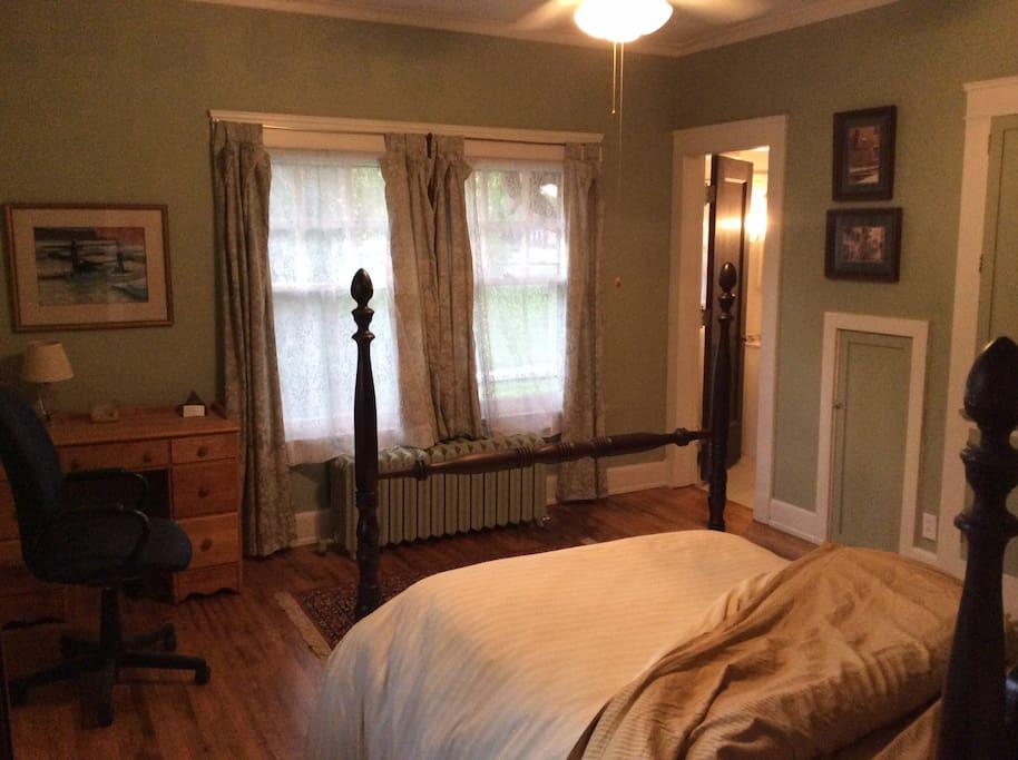 The bedroom with en suite bath.