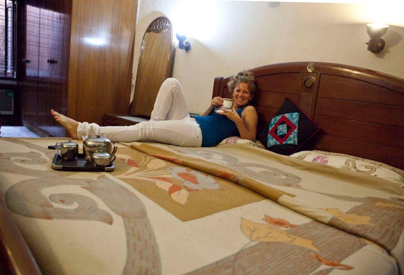 Enjoying Tea On bed