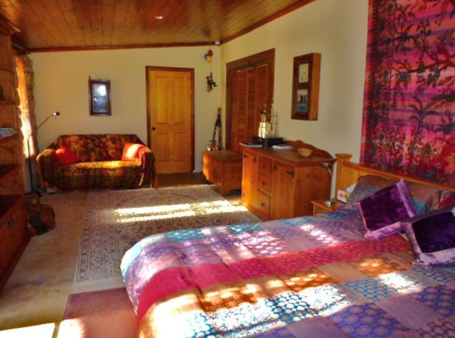 The guest room is sunny, spacious and private.