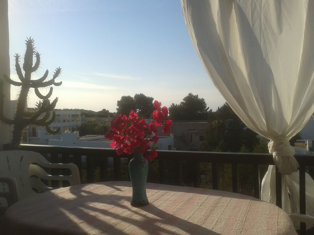 View from outdoor dining area towards to sunset.