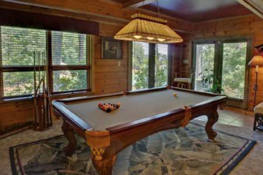 Pool table, indoor shuffleboard table, arcade-size video games!