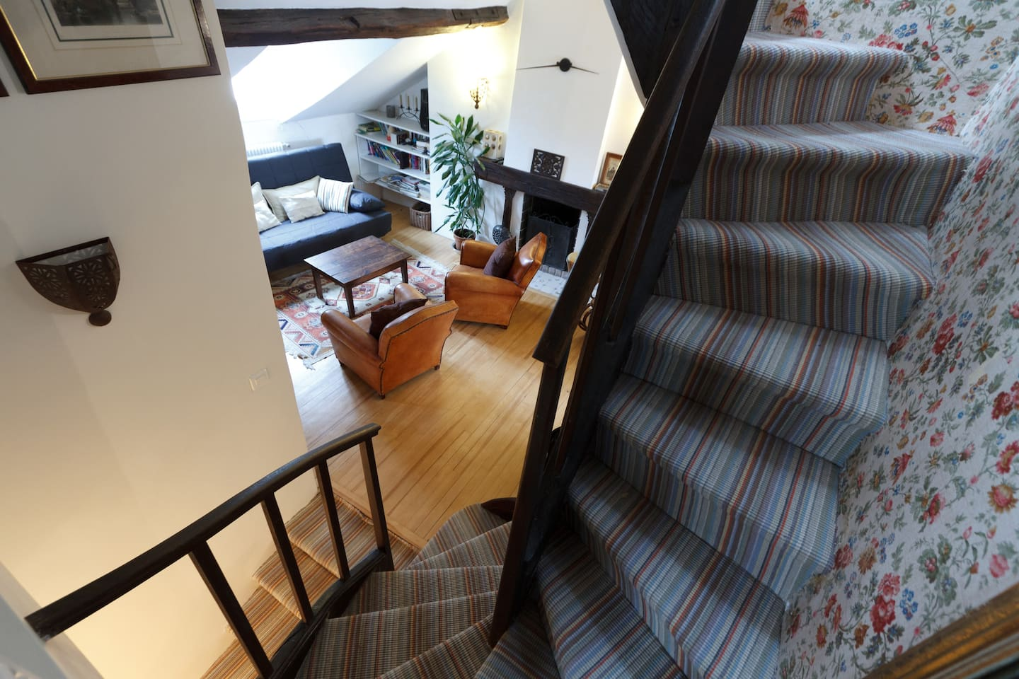 The view of the main room from the stairs to the turret