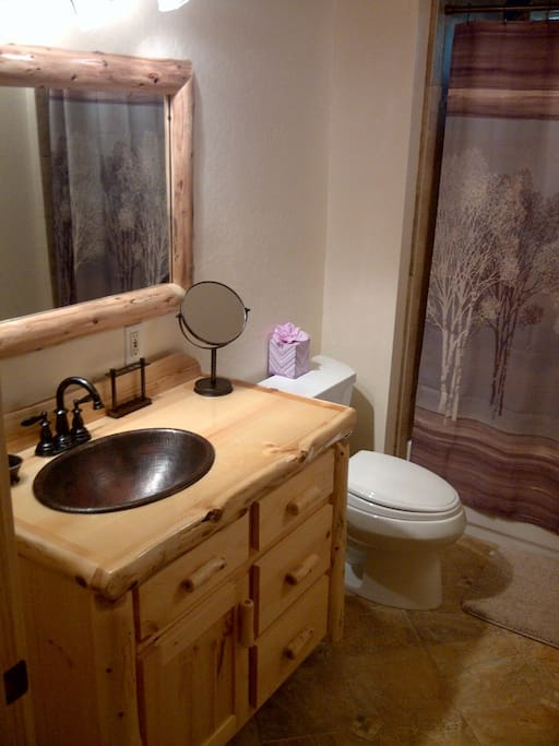 Downstairs Bath/shower with Pine vanity with Copper Sinks