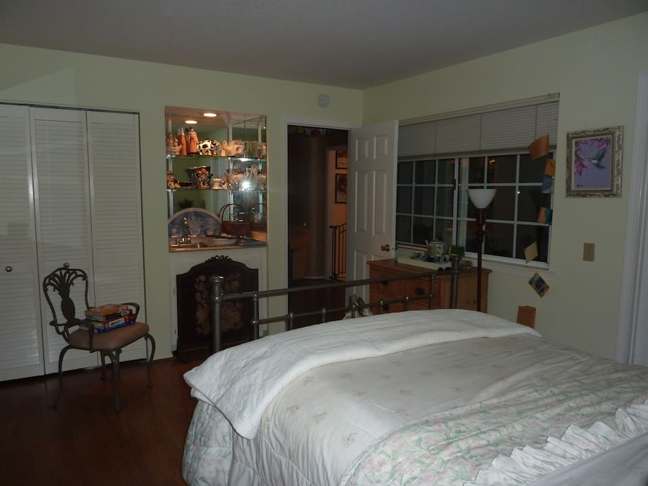 Bedroom is downstairs with plenty of room in drawers for your overnight things.