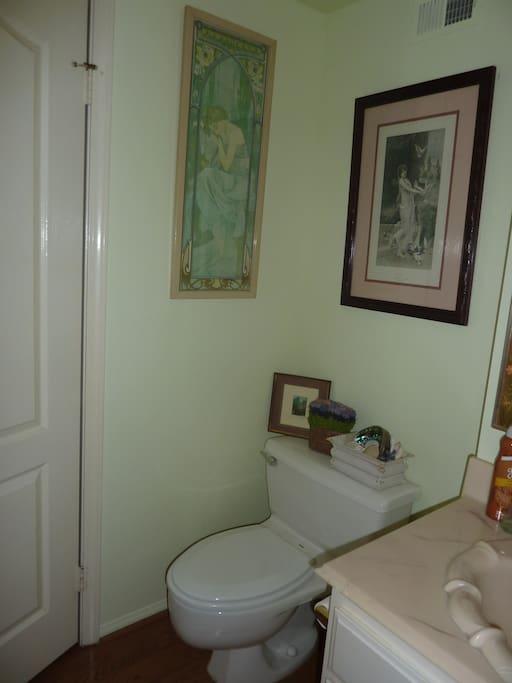 Bathroom is adjacent to the bedroom.