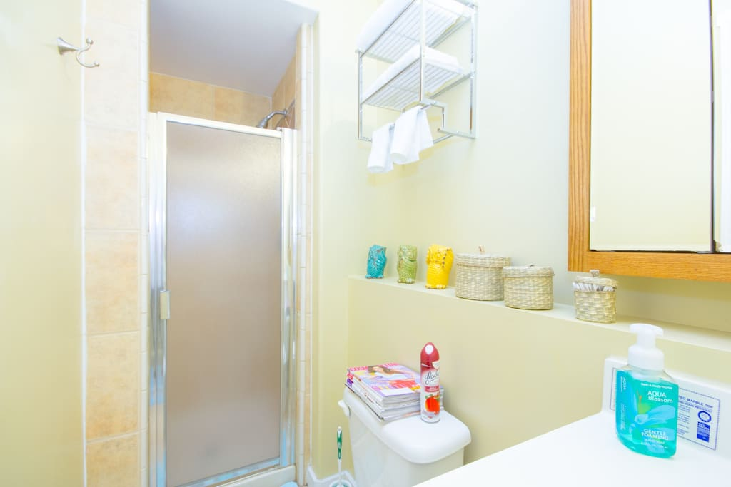 Private bathroom with shower, towels, shampoo/conditioner, body wash.