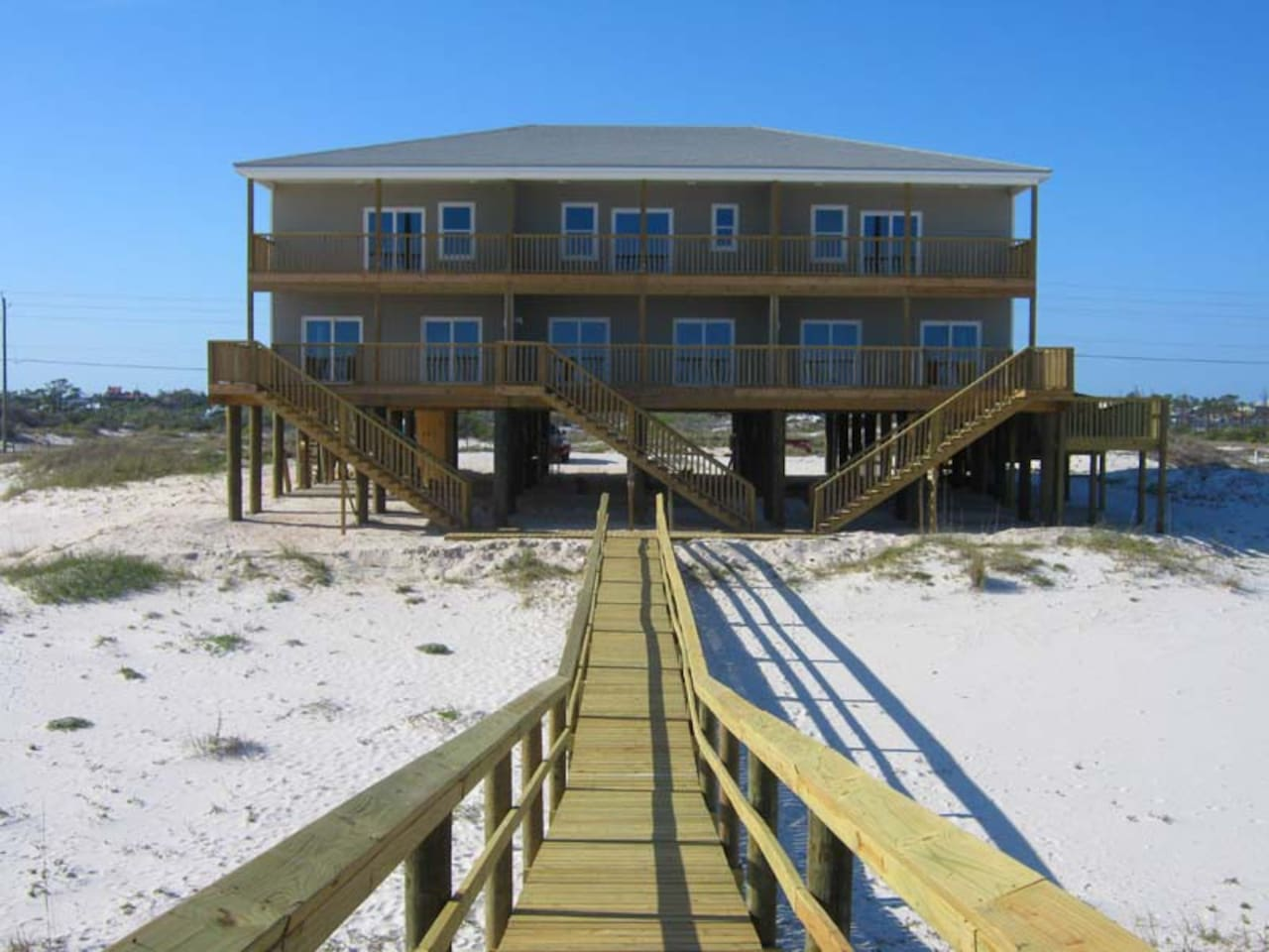 Ledlow Beach House and walkway to the gulf, water view