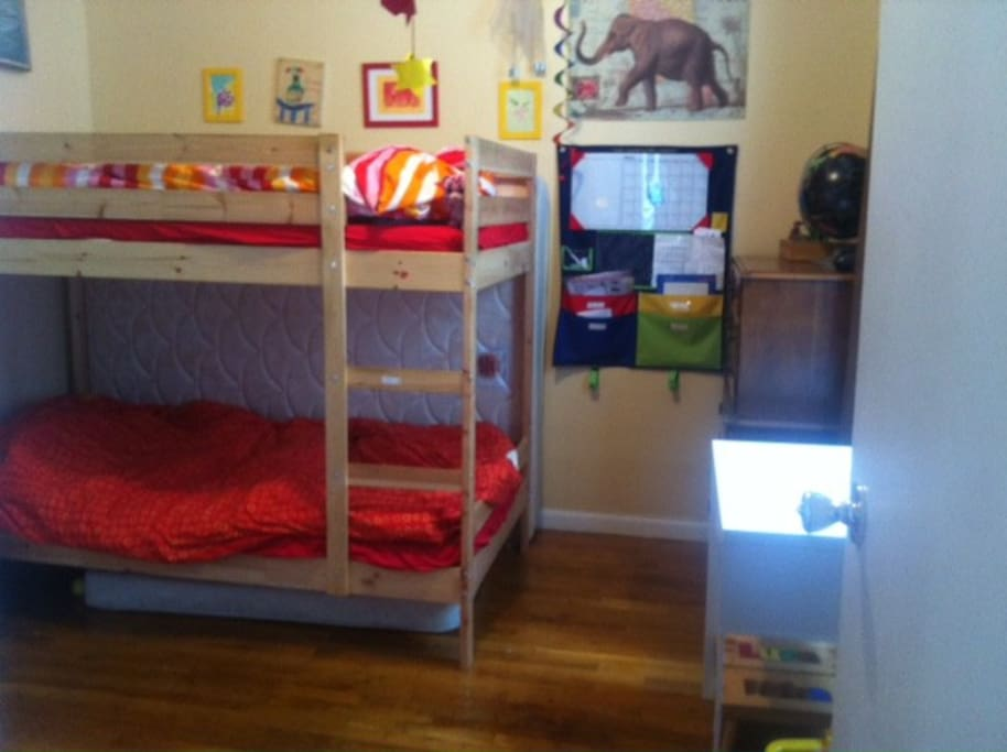 Bunk beds and lots of toys and books for your kids. ( Breezy Windows in every room).