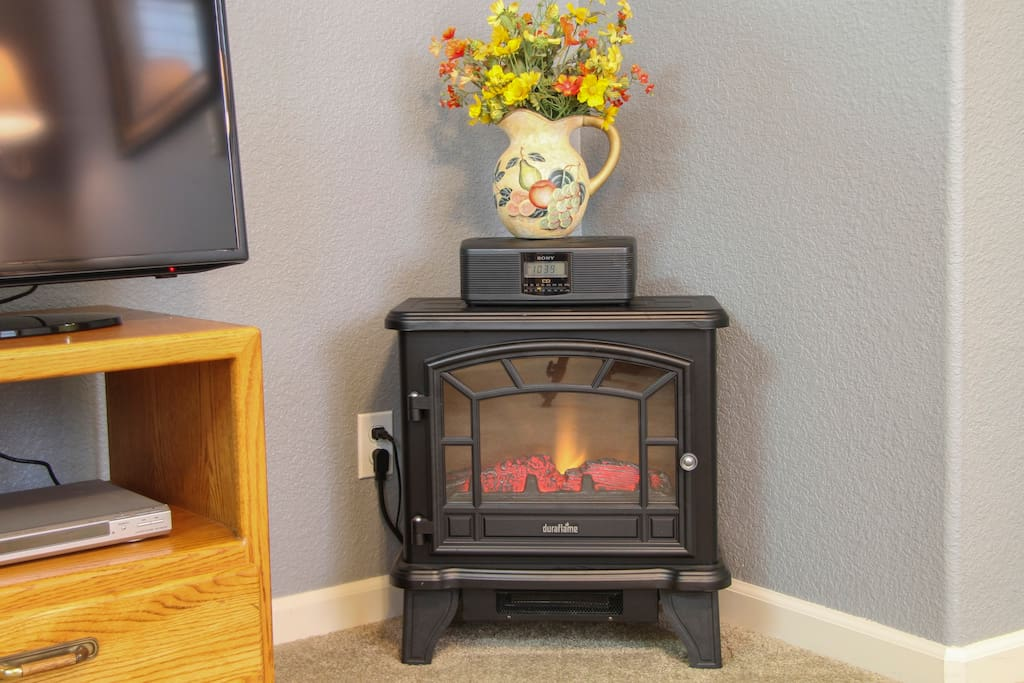 Nights can be chilly. This little fireplace unit warms the place up fast.