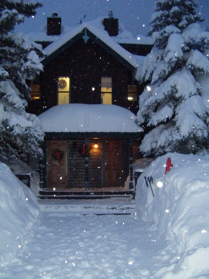 Home sweet home on a snowy winter night. We own the right side of the duplex.