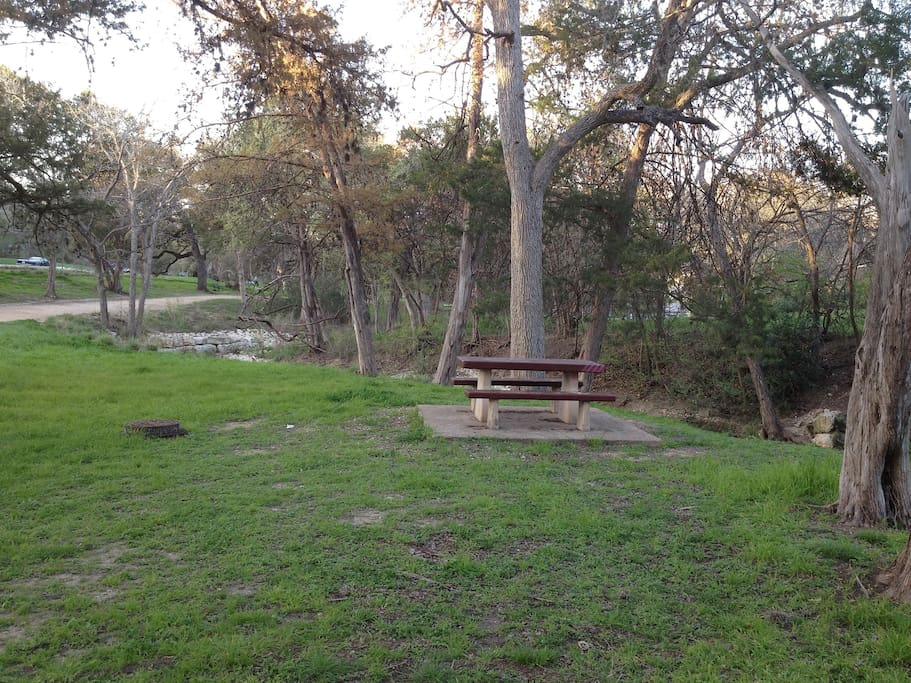 Stacy Park, one of Austin's great neighborhood parks, winds through Travis Heights along Blunn Creek.  Located just across the street.