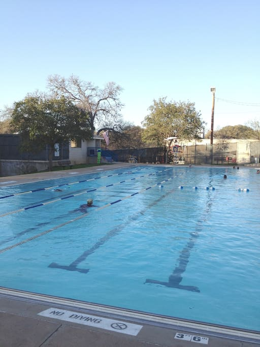 Historic Stacy Pool, open year round, has a constant temperature of 80 degrees with water from the Trinity Aquifer.  The pool was built in 1935 by the WPA.