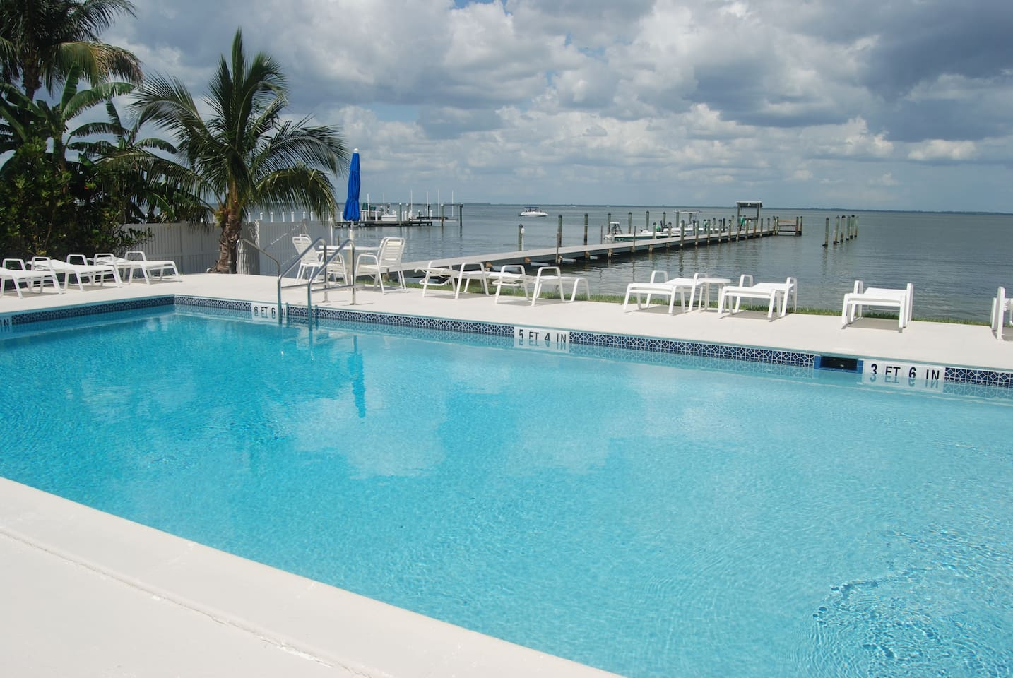 The pool area looks out over Pine Island Sound and the pier where manatee are often seen.