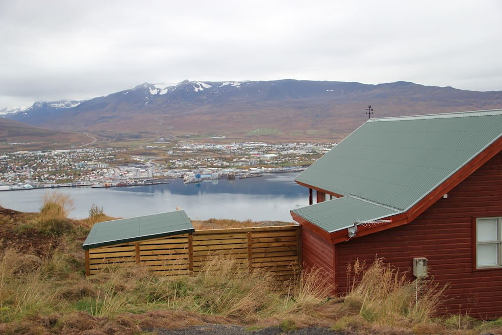 View from the cabin towards Akureyri