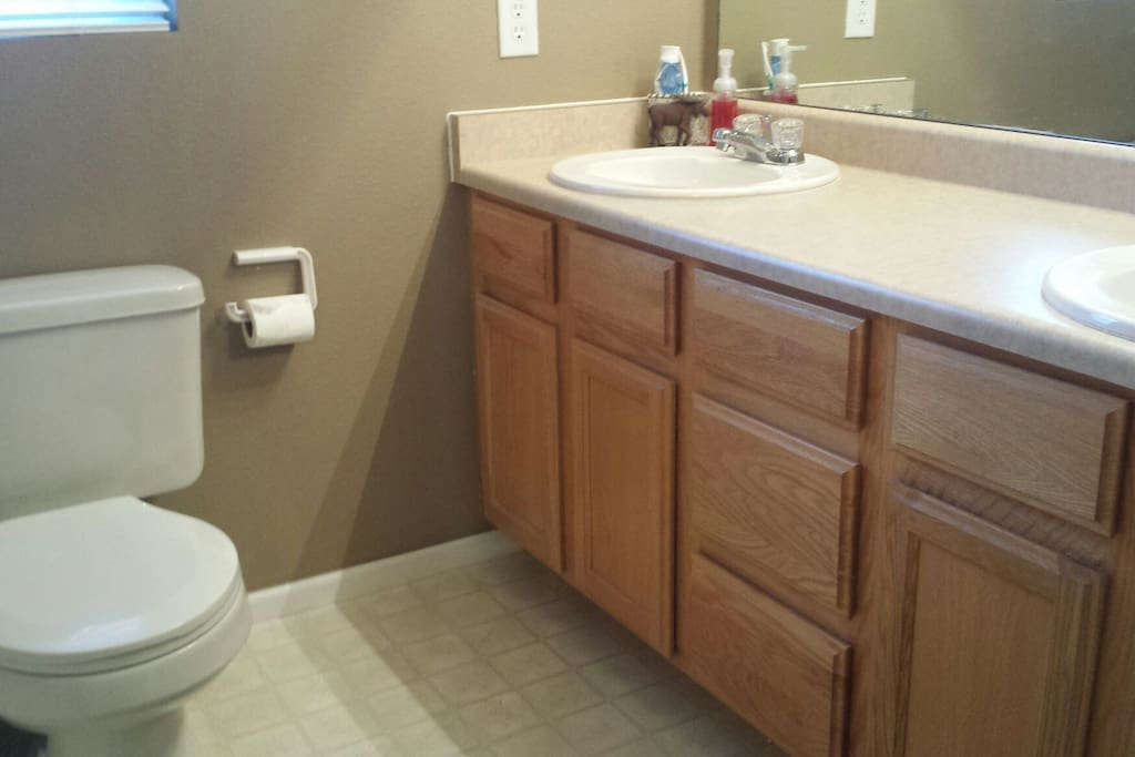 Master bedroom bathroom with double sink